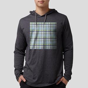 Blue Green Plaid Print Mens Hooded Shirt