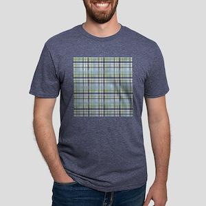 Blue Green Plaid Print Mens Tri-blend T-Shirt