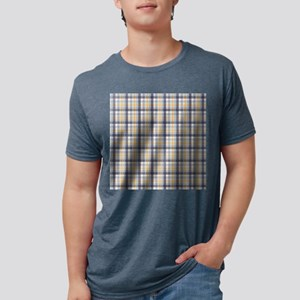 Grey Yellow Plaid Print Mens Tri-blend T-Shirt