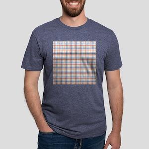 Red Blue Orange Plaid Print Mens Tri-blend T-Shirt