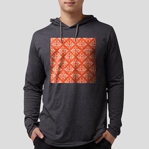 Orange Damask Mens Hooded Shirt