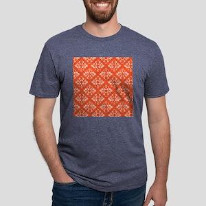 Orange Damask Mens Tri-blend T-Shirt