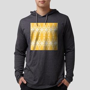 Yellow Damask Mens Hooded Shirt