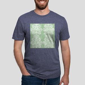 Light Green Damask Mens Tri-blend T-Shirt