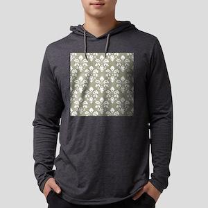Olive Damask Mens Hooded Shirt