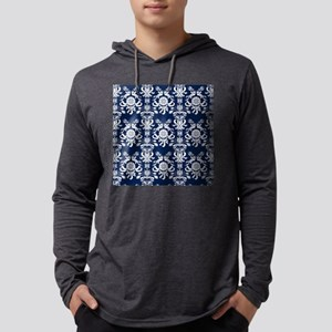 Navy Blue Damask Mens Hooded Shirt