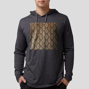 Brown Damask Mens Hooded Shirt