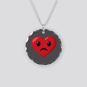Heart Frowning Emoji Necklace Circle Charm