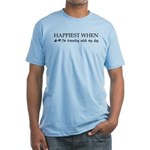 Happiest when traveling with my dog Fitted T-Shirt