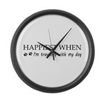 Happiest when traveling with my d Large Wall Clock