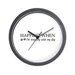 Happiest when traveling with my dog. Wall Clock