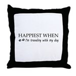 Happiest when traveling with my dog. Throw Pillow