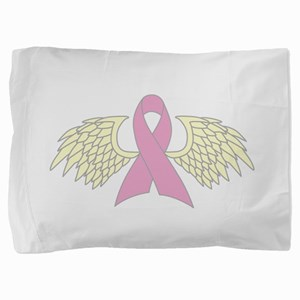 Angel Wings Cancer Ribbon Pillow Sham