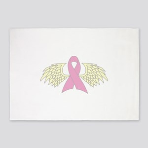 Angel Wings Cancer Ribbon 5'x7'Area Rug