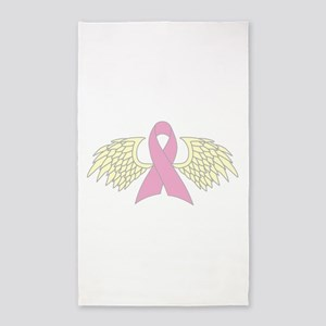 Angel Wings Cancer Ribbon Area Rug