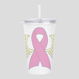 Angel Wings Cancer Ribbon Acrylic Double-wall Tumb
