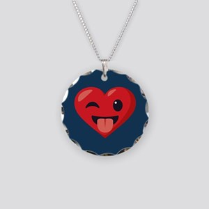 Heart Joking Emoji Necklace Circle Charm
