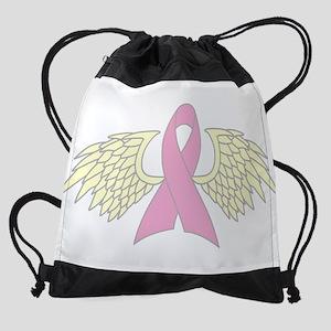 Angel Wings Cancer Ribbon Drawstring Bag