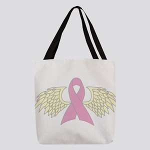Angel Wings Cancer Ribbon Polyester Tote Bag