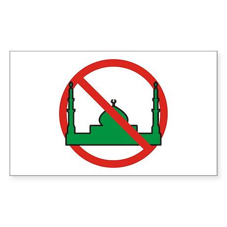 No Mosque Rectangle Sticker