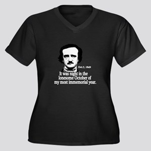Poe Women's Plus Size V-Neck Dark T-Shirt