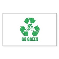 Go Green Cycling Washed Rectangle Sticker