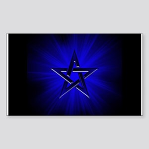 Ominous Blue Pentagram Rectangle Sticker
