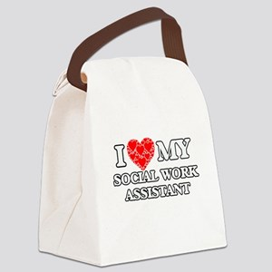 I Love my Social Work Assistant Canvas Lunch Bag