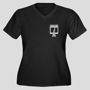 Viola Stunts Women's Plus Size V-Neck Dark T-Shirt