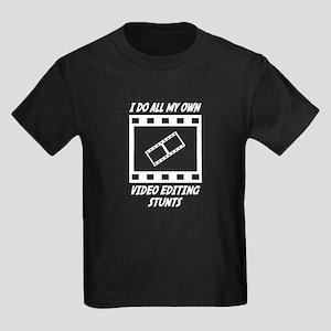 Video Editing Stunts Kids Dark T-Shirt