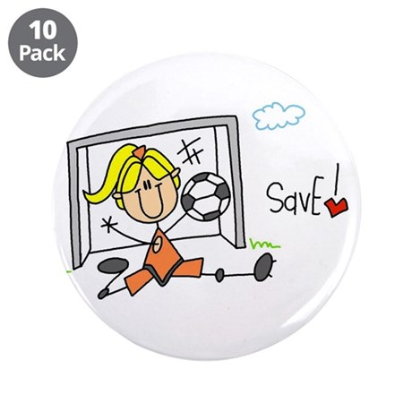 """Girl Soccer Goalie 3.5"""" Button (10 pack)"""
