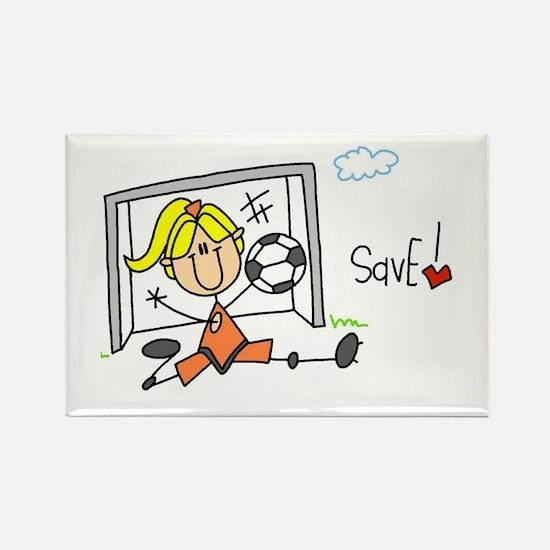 Girl Soccer Goalie Rectangle Magnet