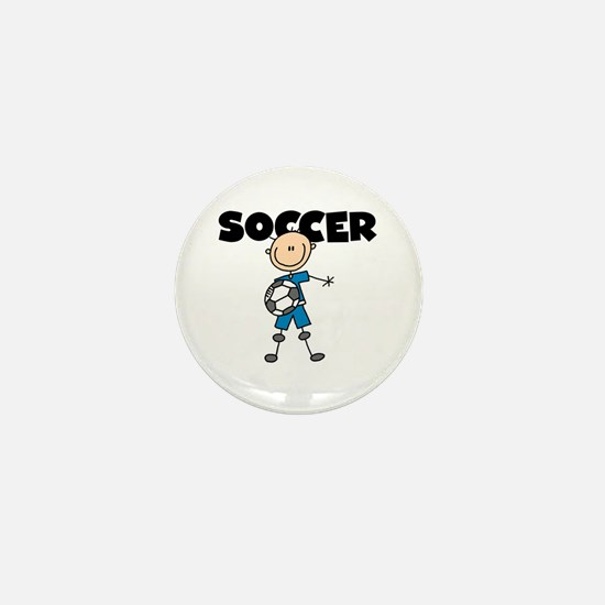 SOCCER Stick Figure Mini Button