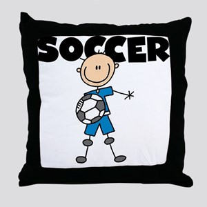 SOCCER Stick Figure Throw Pillow