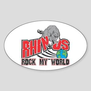 Rhinos Rock My World Oval Sticker