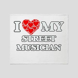 I Love my Street Musician Throw Blanket