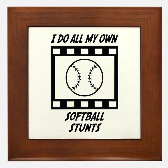 Softball Stunts Framed Tile
