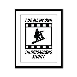 Snowboarding Stunts Framed Panel Print