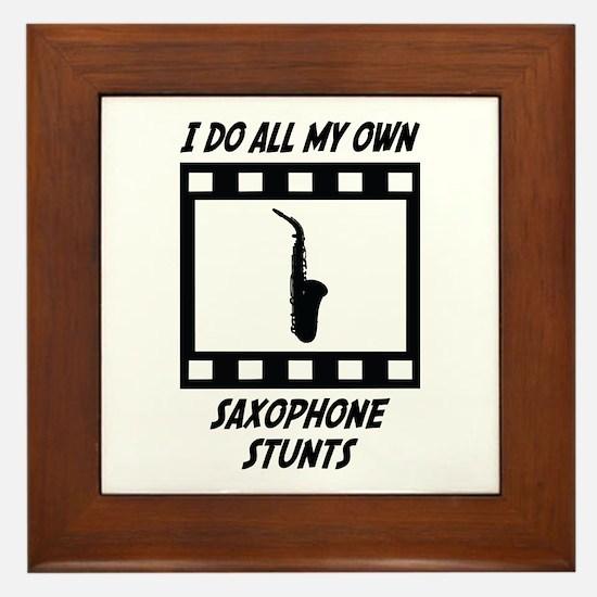 Saxophone Stunts Framed Tile