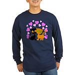 Kitty Cat Love Long Sleeve Dark T-Shirt