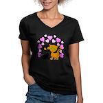 Kitty Cat Love Women's V-Neck Dark T-Shirt