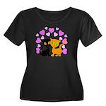 Kitty Ca Women's Plus Size Scoop Neck Dark T-Shirt
