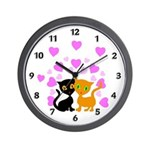 Kitty Cat Love Wall Clock