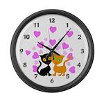 Kitty Cat Love Large Wall Clock