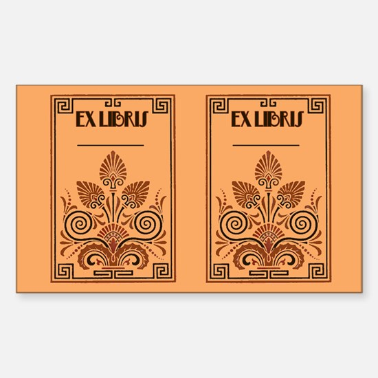 Art Deco Book Plate Rectangle Decal