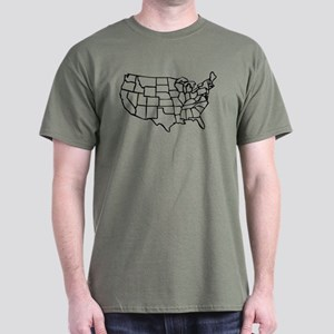 US Map Dark T-Shirt