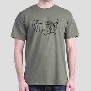US Map Dark T-Shirt
