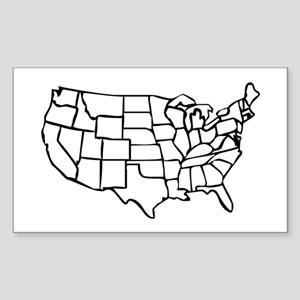 US Map Sticker (Rectangle)