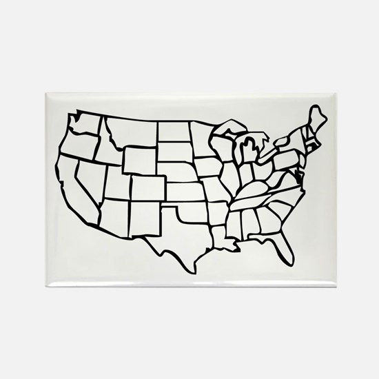 US Map Rectangle Magnet