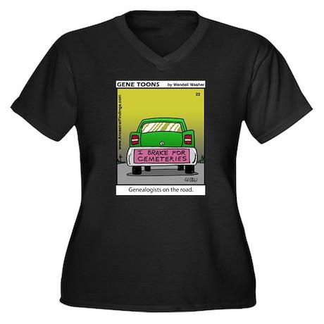 #22 On the road Women's Plus Size V-Neck Dark T-Sh